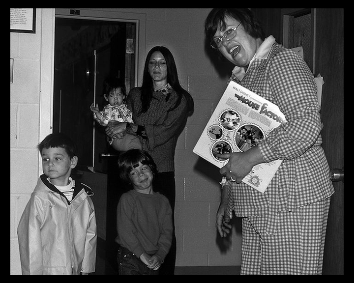 Teacher and students circa 1970