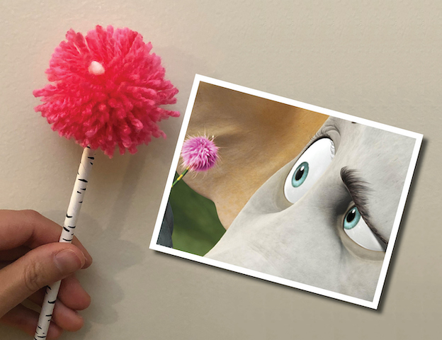 Flowergram with photo of Horton looking at his clover