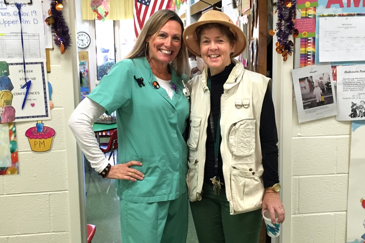 Two teachers dressed for Halloween