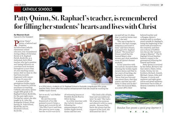 Full page article in Catholic Standard